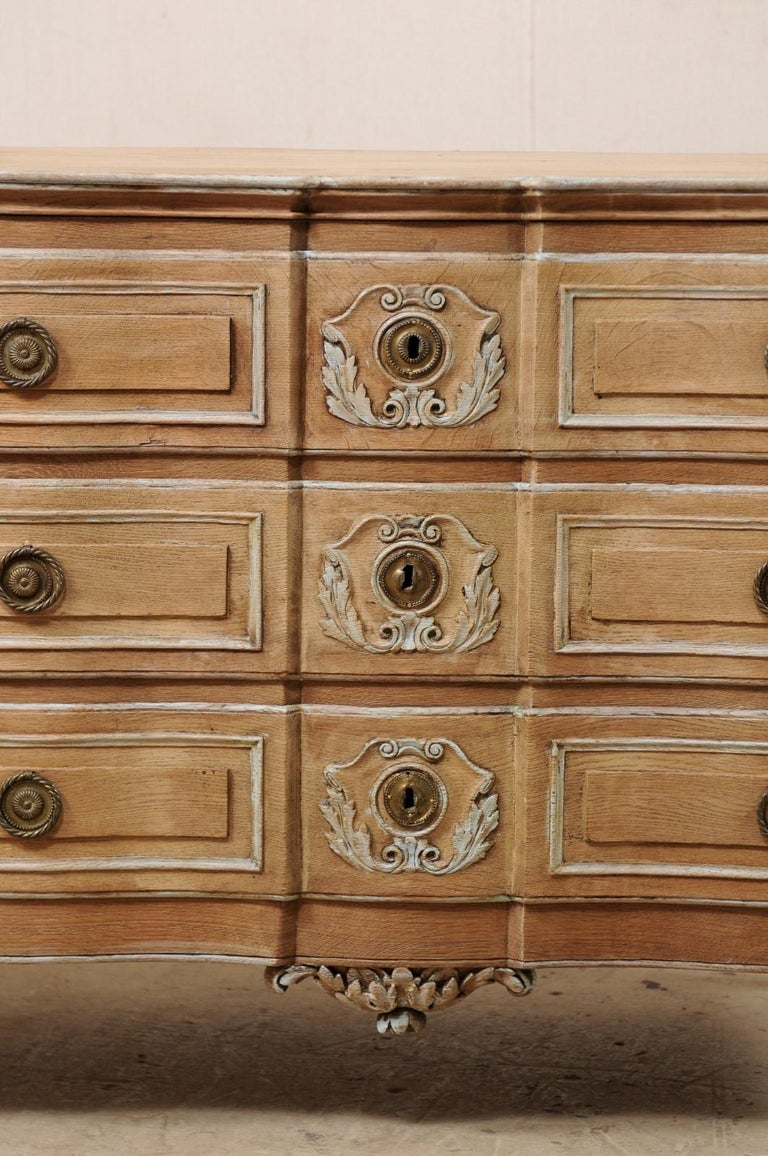Wood 18th Century French Neoclassical Chest with Floral Carved Serpentine Front For Sale