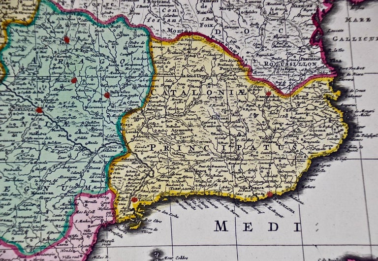 18th Century Hand Colored Map of Spain and Portugal by Visscher For Sale 5