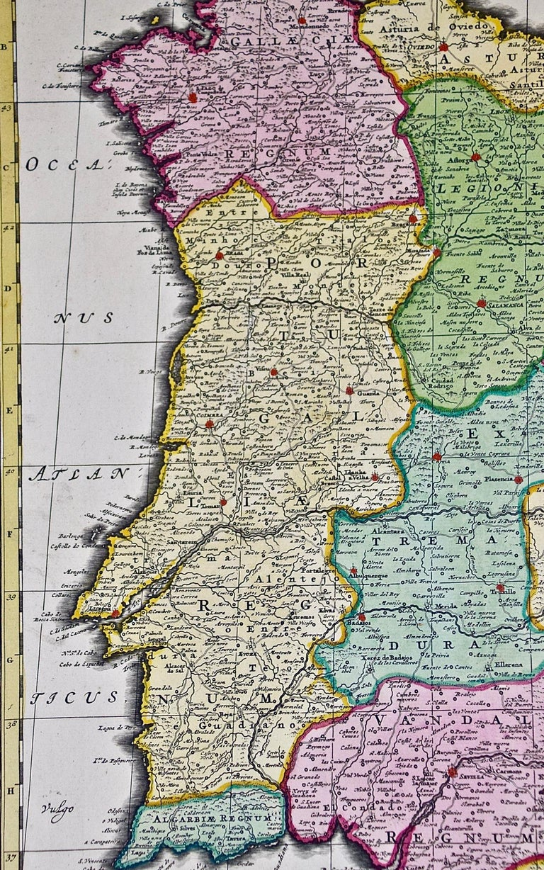 18th Century Hand Colored Map of Spain and Portugal by Visscher For Sale 8