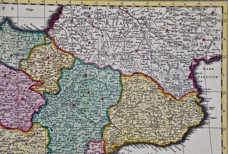 18th Century Hand Colored Map of Spain and Portugal by Visscher For Sale 9