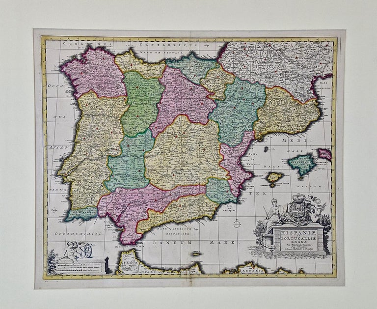 An 18th century map of Spain and Portugal with attractive original hand-coloring entitled