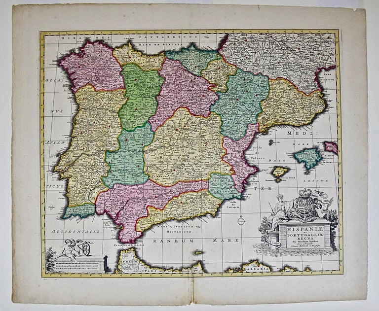 Dutch 18th Century Hand Colored Map of Spain and Portugal by Visscher For Sale