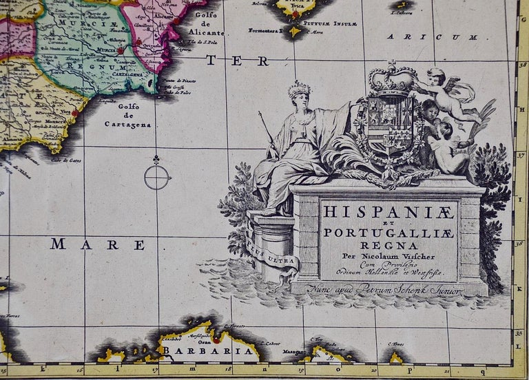 18th Century Hand Colored Map of Spain and Portugal by Visscher In Good Condition For Sale In Alamo, CA