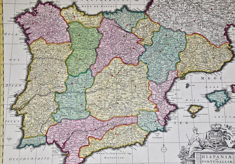 Paper 18th Century Hand Colored Map of Spain and Portugal by Visscher For Sale