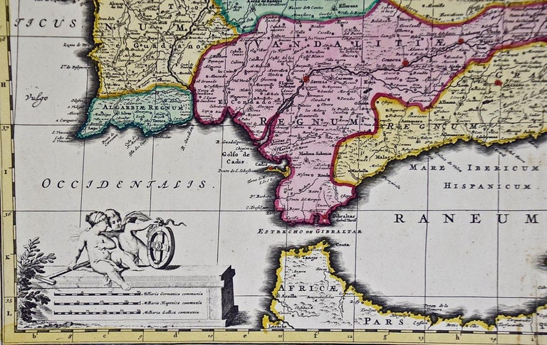 18th Century Hand Colored Map of Spain and Portugal by Visscher For Sale 1