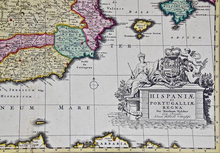 18th Century Hand Colored Map of Spain and Portugal by Visscher For Sale 2
