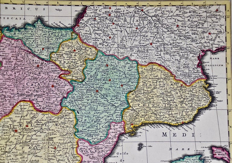 18th Century Hand Colored Map of Spain and Portugal by Visscher For Sale 3
