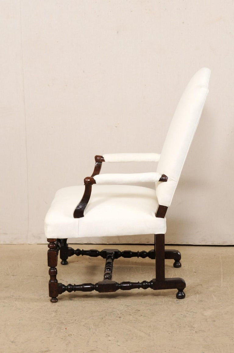 18th Century Italian Carved-Wood Camel-Back Armchair with New Upholstery For Sale 6