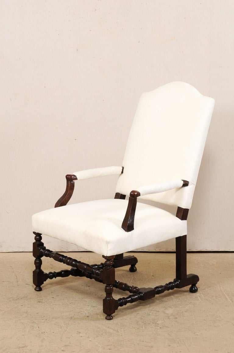 18th Century Italian Carved-Wood Camel-Back Armchair with New Upholstery For Sale 7