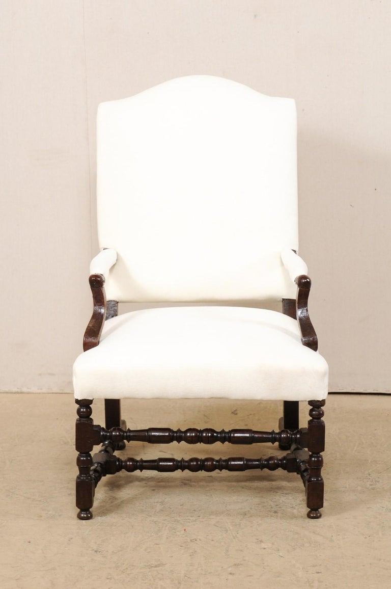 18th Century Italian Carved-Wood Camel-Back Armchair with New Upholstery For Sale 8