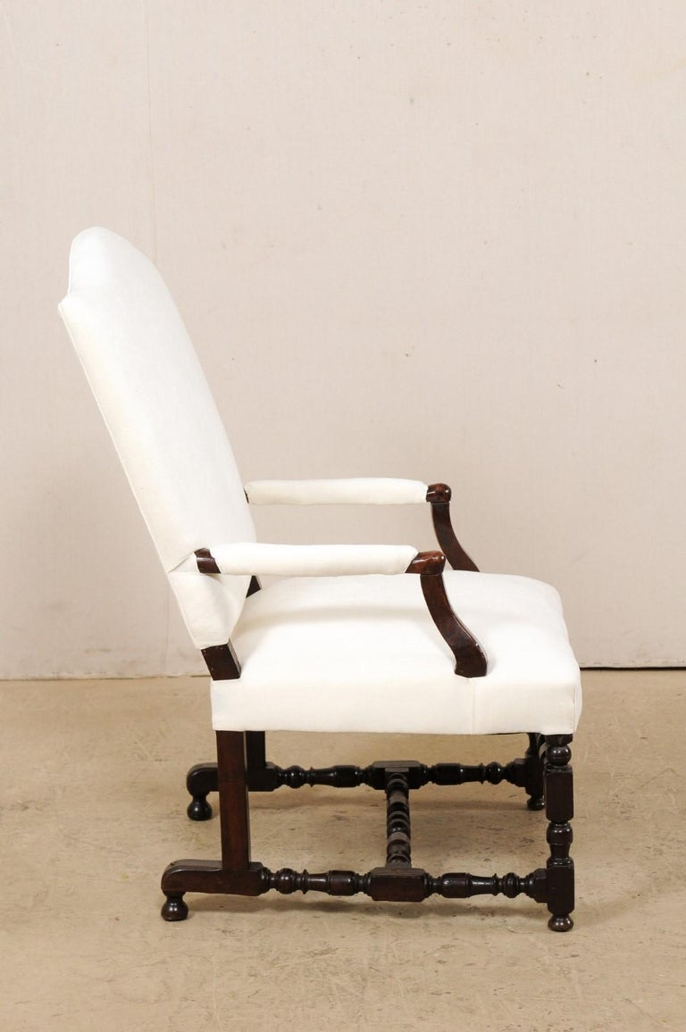 18th Century Italian Carved-Wood Camel-Back Armchair with New Upholstery For Sale 2