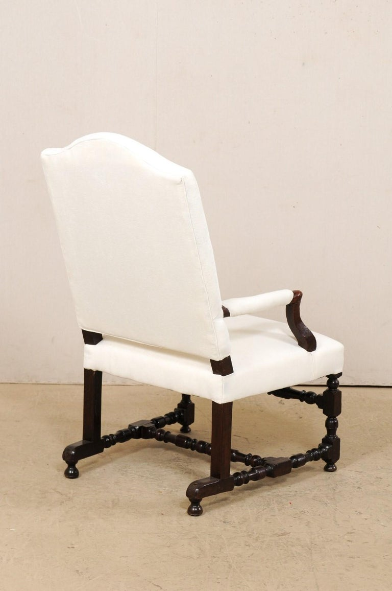 18th Century Italian Carved-Wood Camel-Back Armchair with New Upholstery For Sale 3