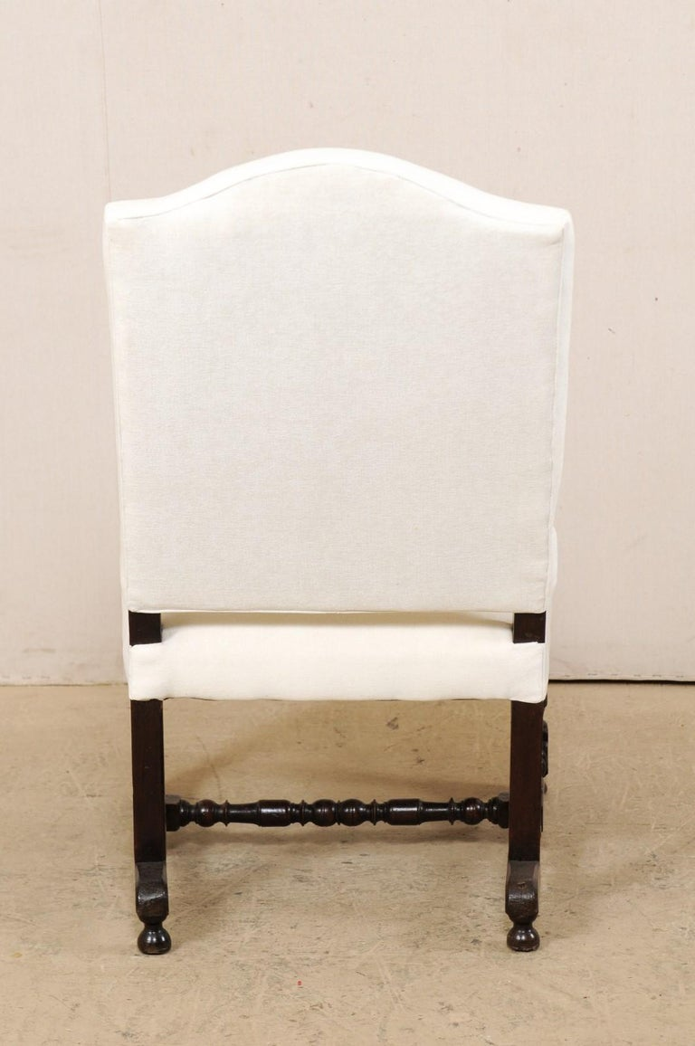 18th Century Italian Carved-Wood Camel-Back Armchair with New Upholstery For Sale 4