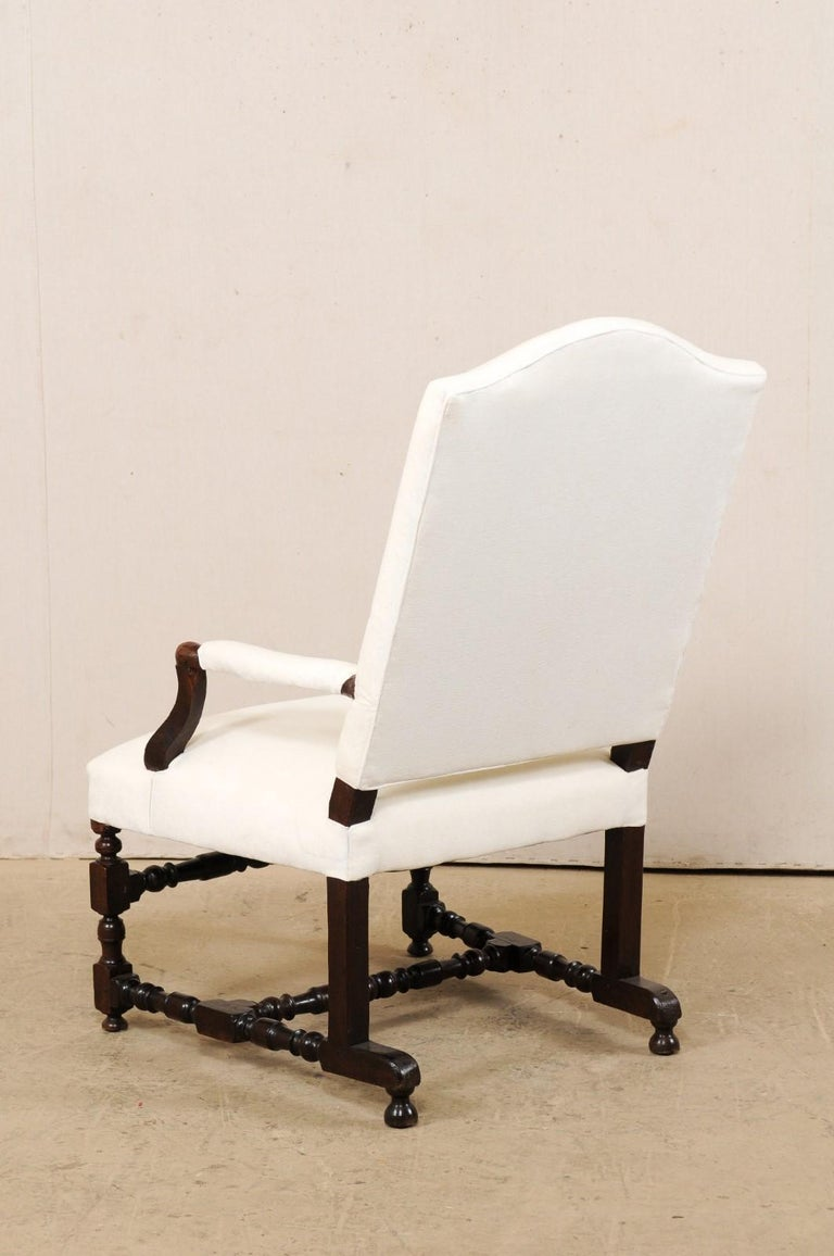 18th Century Italian Carved-Wood Camel-Back Armchair with New Upholstery For Sale 5