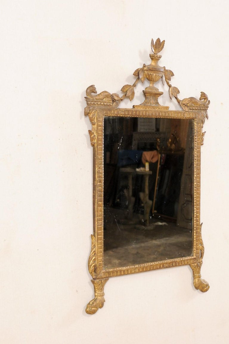 18th Century Italian Neoclassical Carved & Giltwood Mirror with Raised Urn Crest For Sale 5