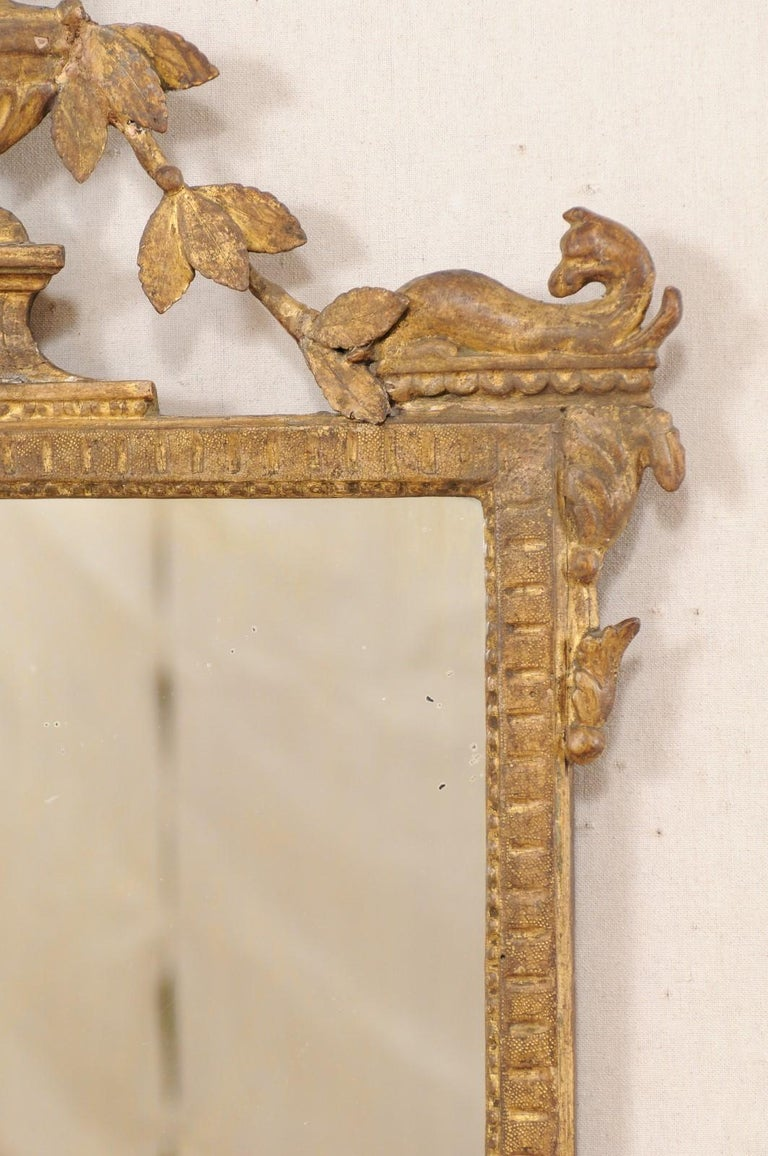18th Century and Earlier 18th Century Italian Neoclassical Carved & Giltwood Mirror with Raised Urn Crest For Sale
