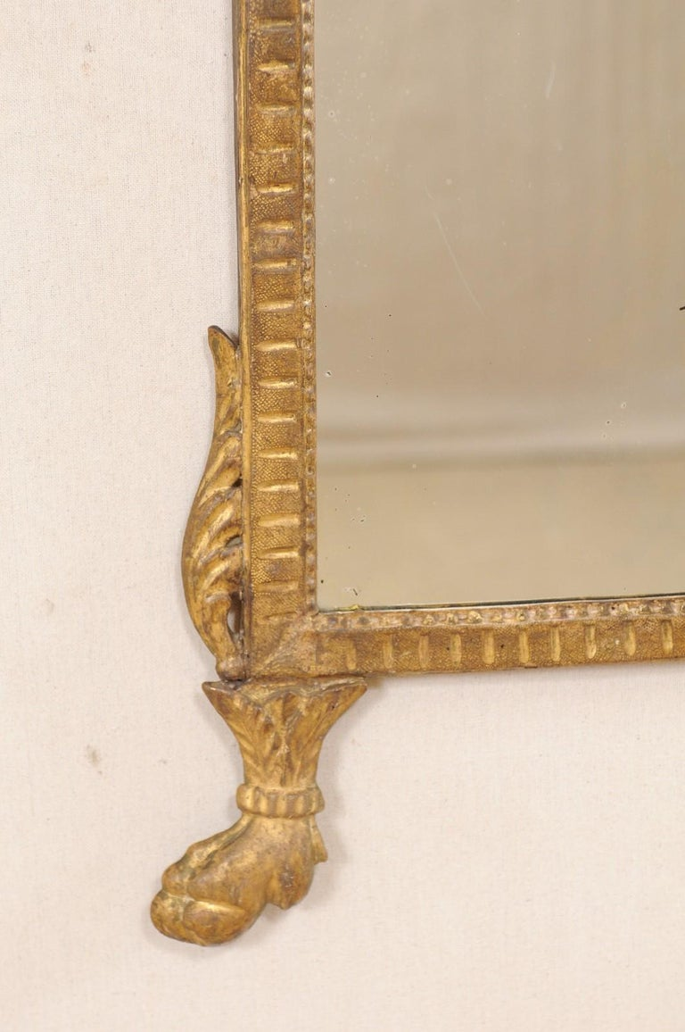 18th Century Italian Neoclassical Carved & Giltwood Mirror with Raised Urn Crest For Sale 1
