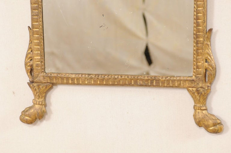 18th Century Italian Neoclassical Carved & Giltwood Mirror with Raised Urn Crest For Sale 2