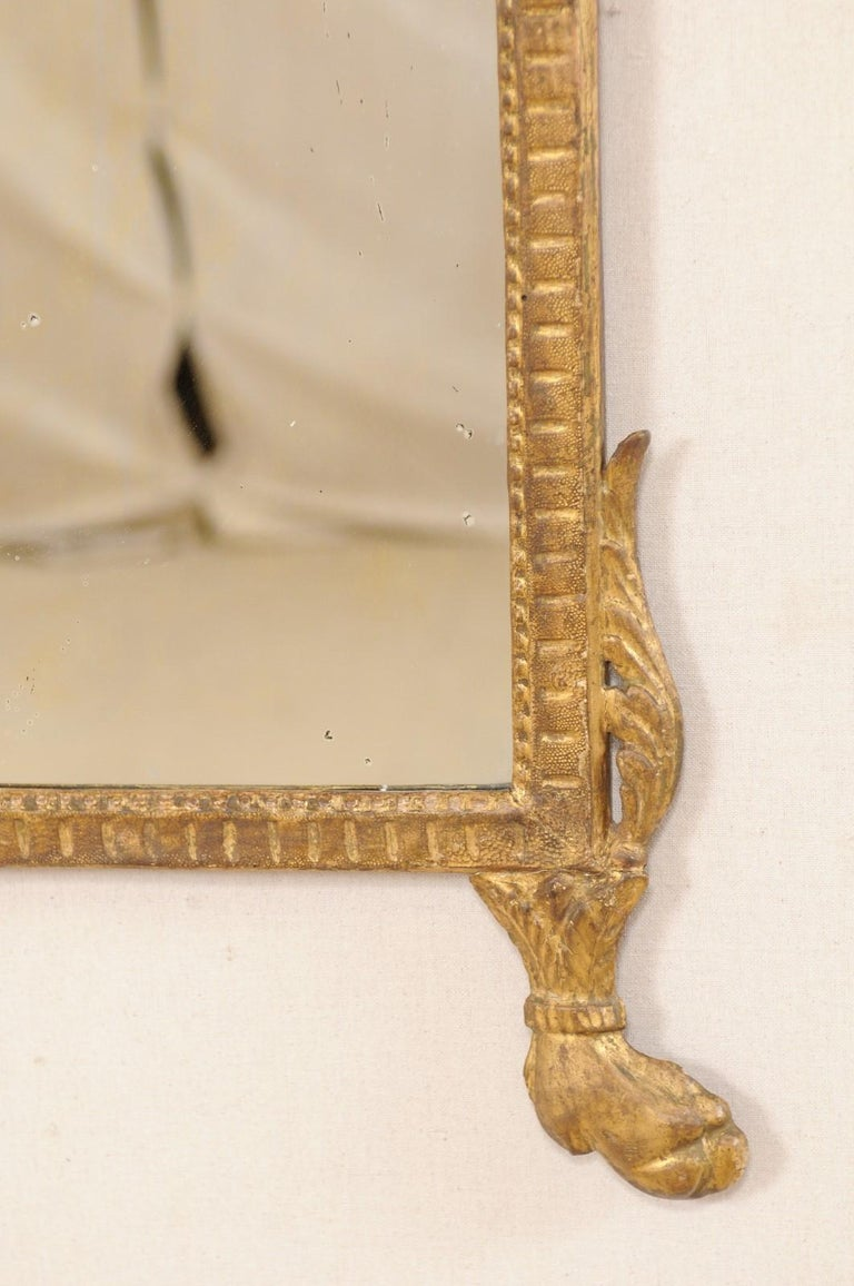 18th Century Italian Neoclassical Carved & Giltwood Mirror with Raised Urn Crest For Sale 3