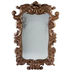 18th Century Italian Silver Gilt Mirror with Mercury Glass Plate