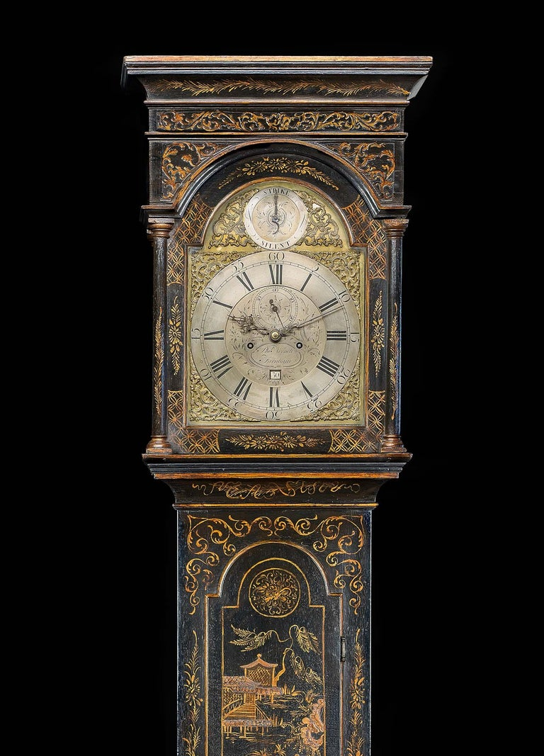 George III 18th Century Longcase Clock with Chinoiserie Lacquer For Sale