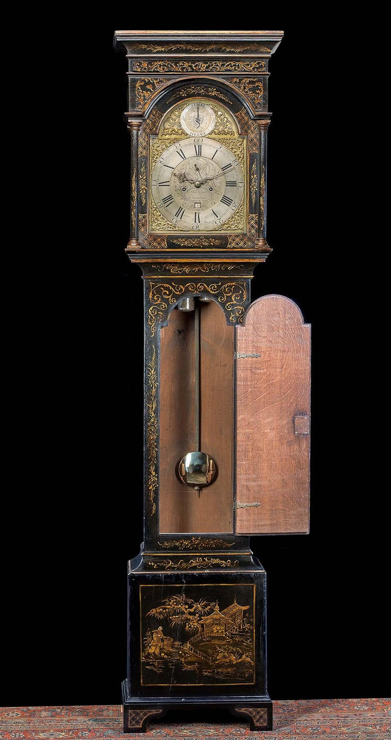 English 18th Century Longcase Clock with Chinoiserie Lacquer For Sale