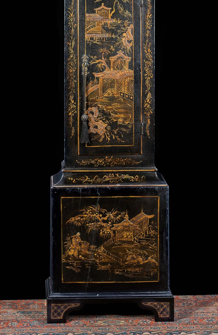 18th Century Longcase Clock with Chinoiserie Lacquer In Fair Condition For Sale In London, GB