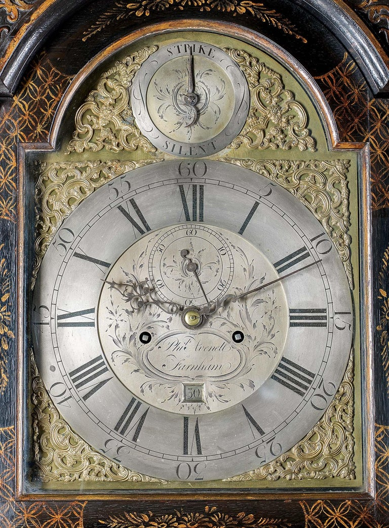 18th Century Longcase Clock with Chinoiserie Lacquer For Sale 2
