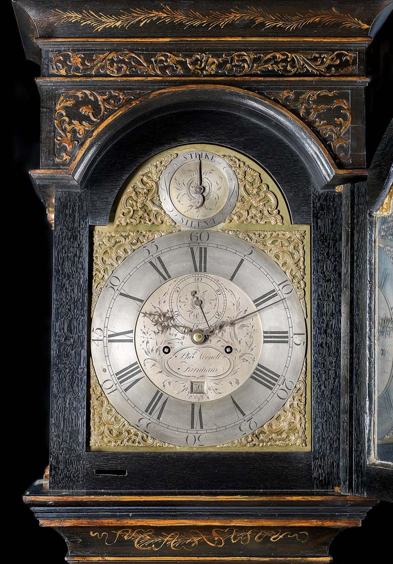 18th Century Longcase Clock with Chinoiserie Lacquer For Sale 3