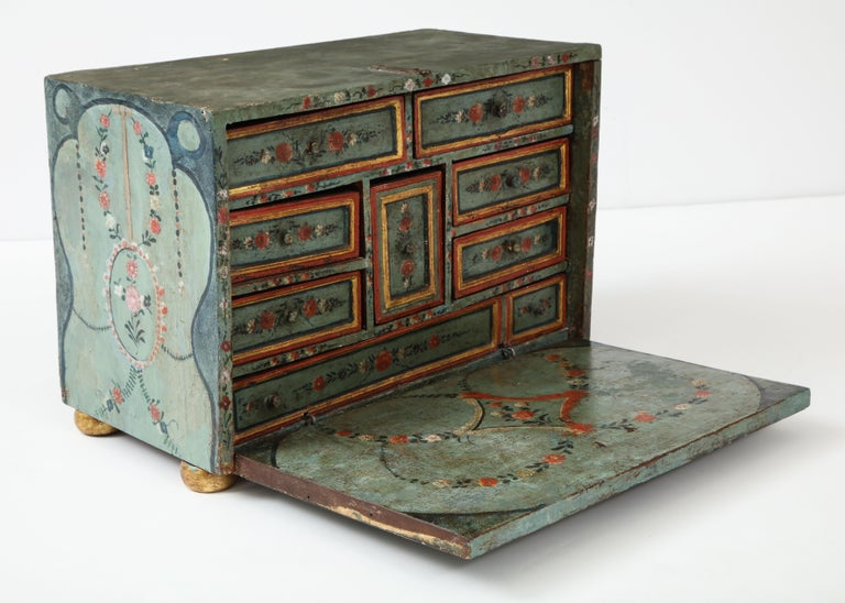 18th Century Polychrome and Parcel-Gilt Spanish Colonial Vargueno For Sale 5