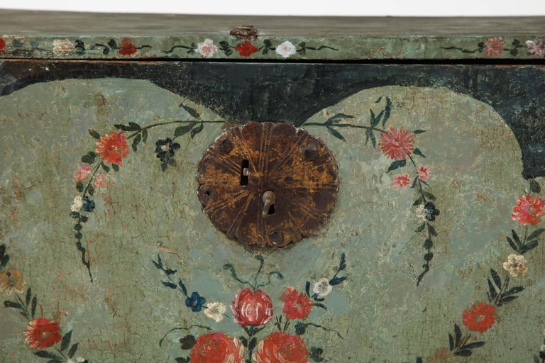 Mexican 18th Century Polychrome and Parcel-Gilt Spanish Colonial Vargueno For Sale