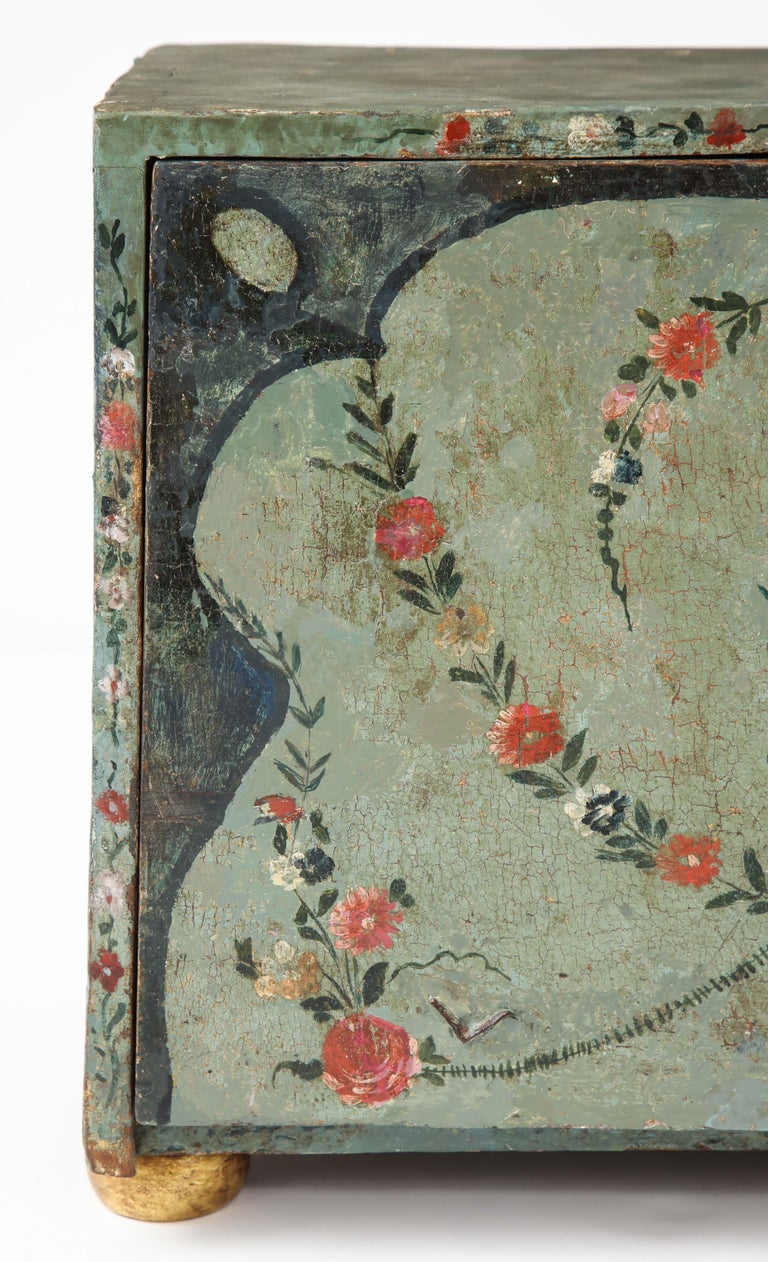 Hand-Painted 18th Century Polychrome and Parcel-Gilt Spanish Colonial Vargueno For Sale