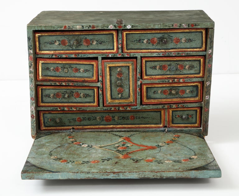 18th Century and Earlier 18th Century Polychrome and Parcel-Gilt Spanish Colonial Vargueno For Sale
