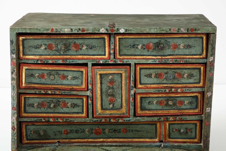Wood 18th Century Polychrome and Parcel-Gilt Spanish Colonial Vargueno For Sale