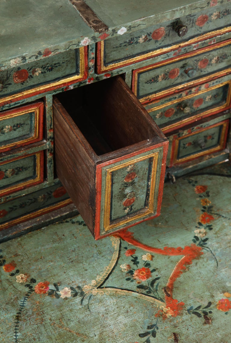 18th Century Polychrome and Parcel-Gilt Spanish Colonial Vargueno For Sale 2