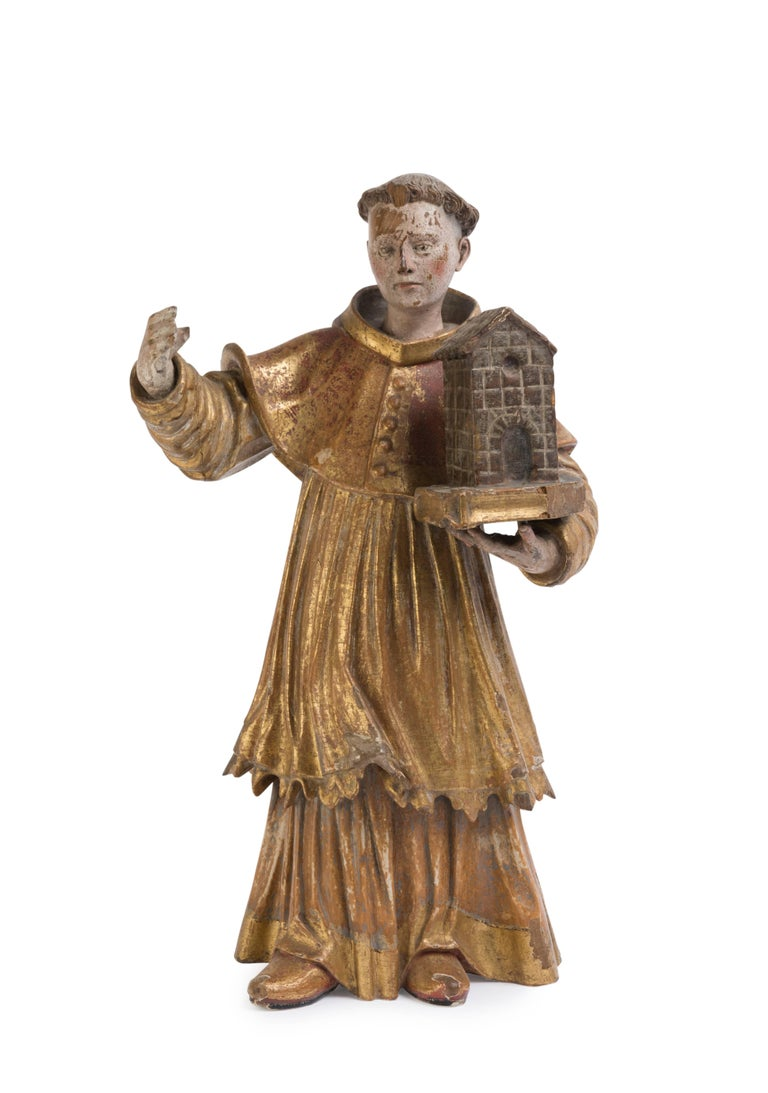18th Century Polychrome Figure of a Saint For Sale