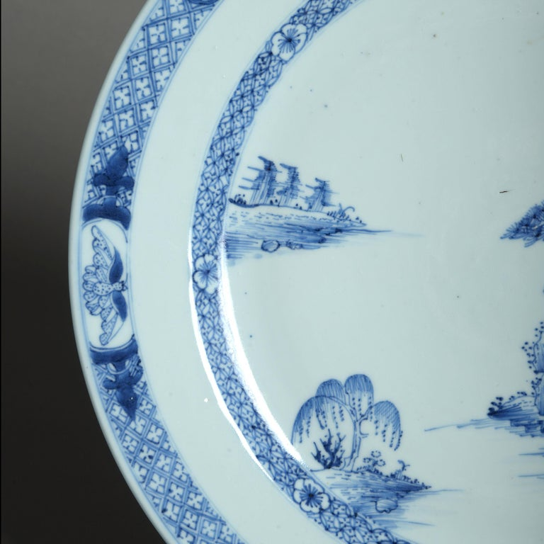 Chinese 18th Century Qianlong Period Blue and White Porcelain Charger For Sale