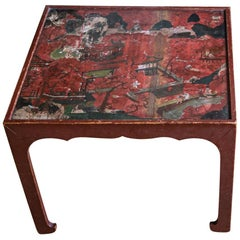 18th Century Red Japanned Chinoiserie Table in the Manner of Mallett