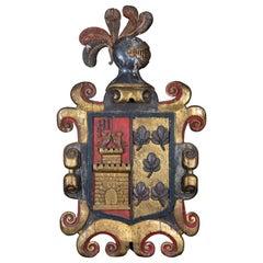 18th Century Spanish Gilt Polychrome Heraldic Sheild