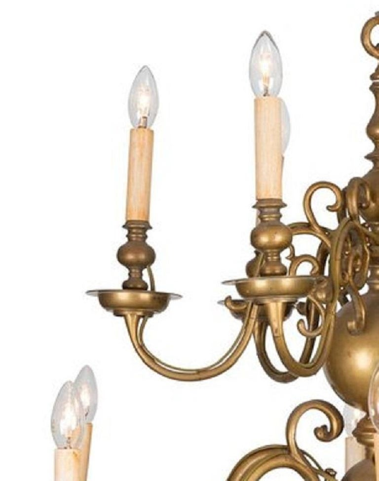 Baroque An 18th Century Twelve-Light Dutch Brass Two-Tier Chandelier For Sale
