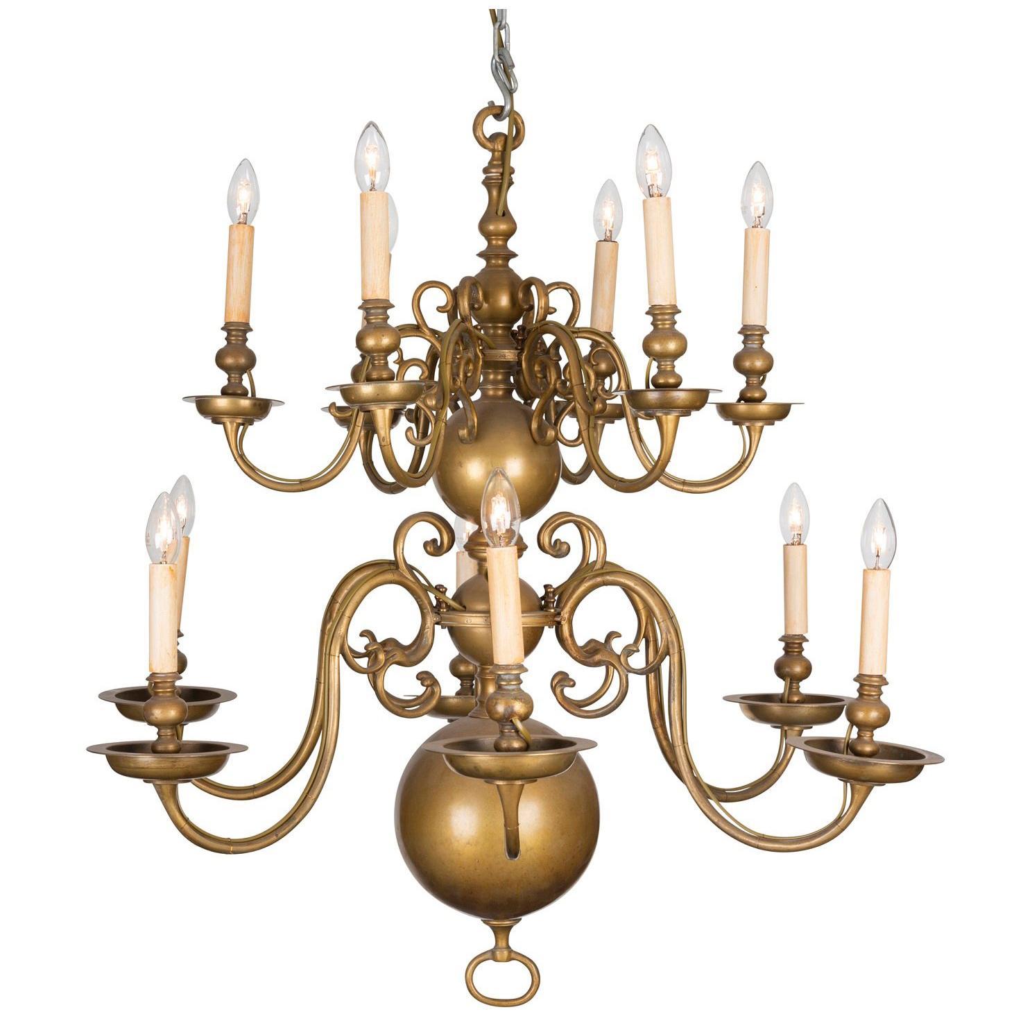 An 18th Century Twelve-Light Dutch Brass Two-Tier Chandelier