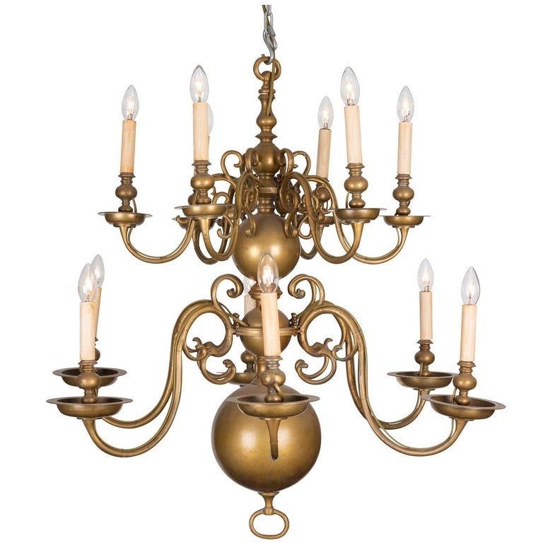 An 18th Century Twelve-Light Dutch Brass Two-Tier Chandelier For Sale