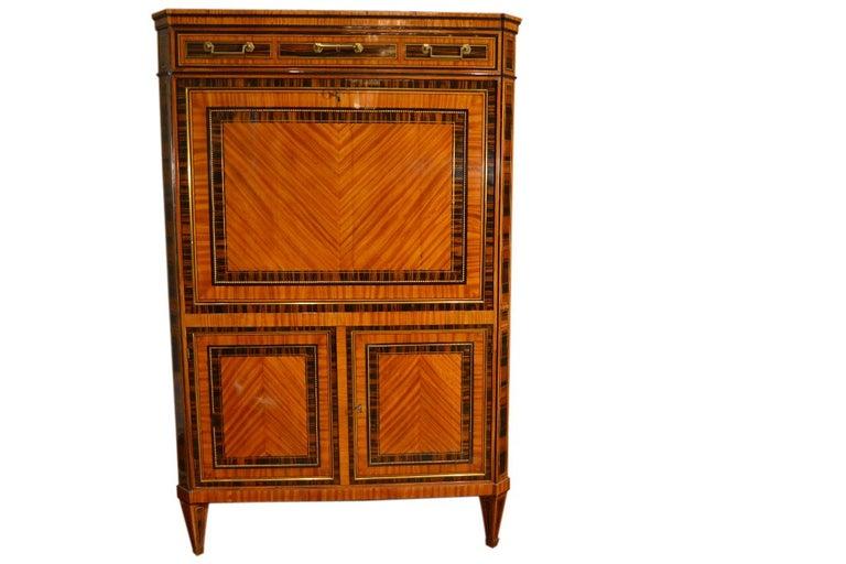 Louis XVI 18th Century Dutch Satinwood Marquetry Secretaire a Abattant For Sale