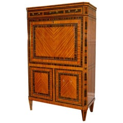 18th Century Dutch Satinwood Marquetry Secretaire a Abattant