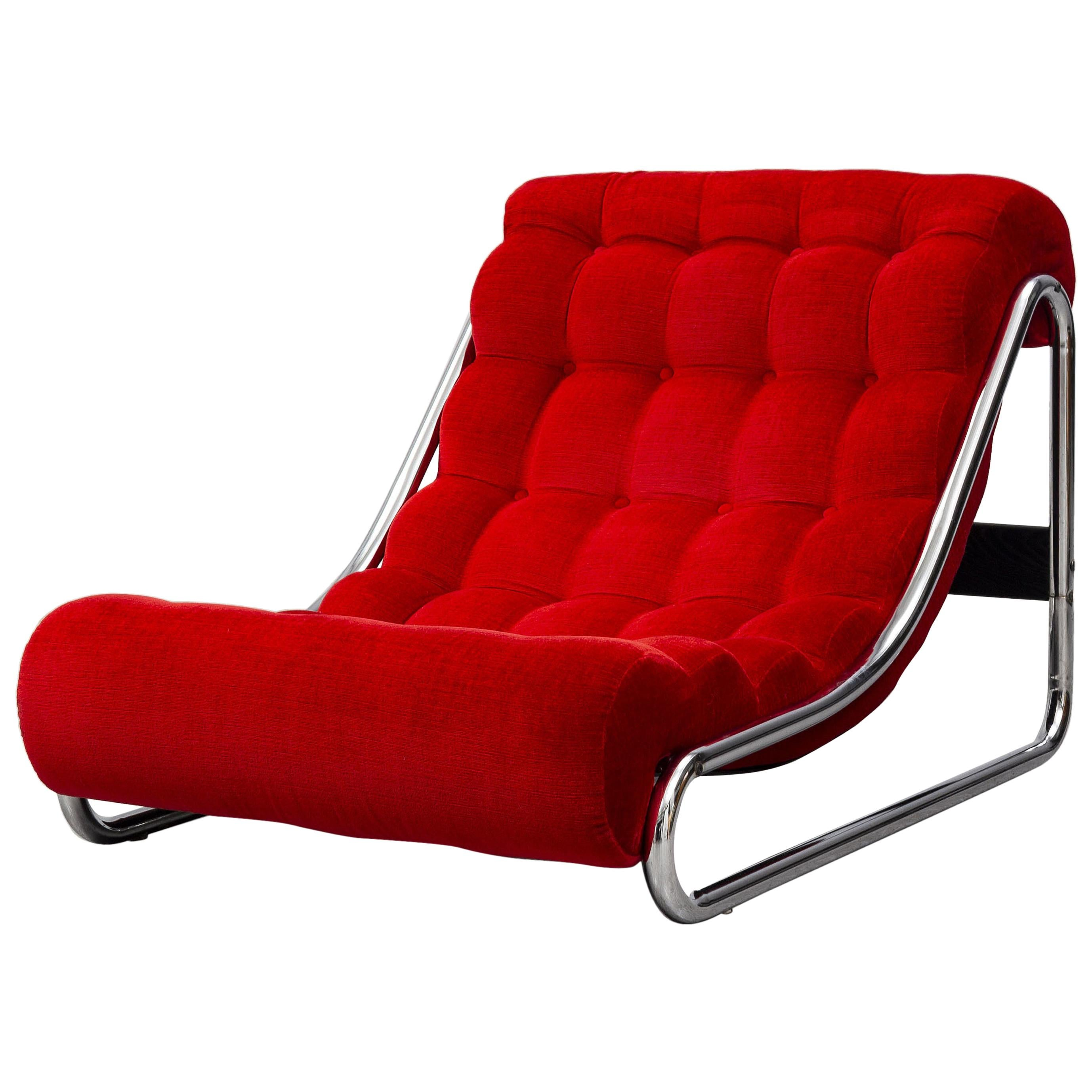 An 1970s Swedish Impala Red Easy Chair by Gillis Lundgren for IKEA