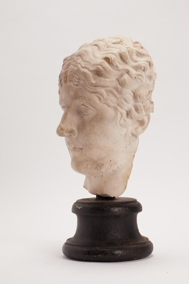 Over the wooden black painted base is set the plaster cast of a roman women's head. The cast for drawing teaching in academy, Italy, circa 1890.