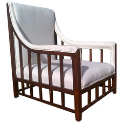 Aesthetic Movement Anglo-Japanese Mahogany Armchair with Lattice Work Details