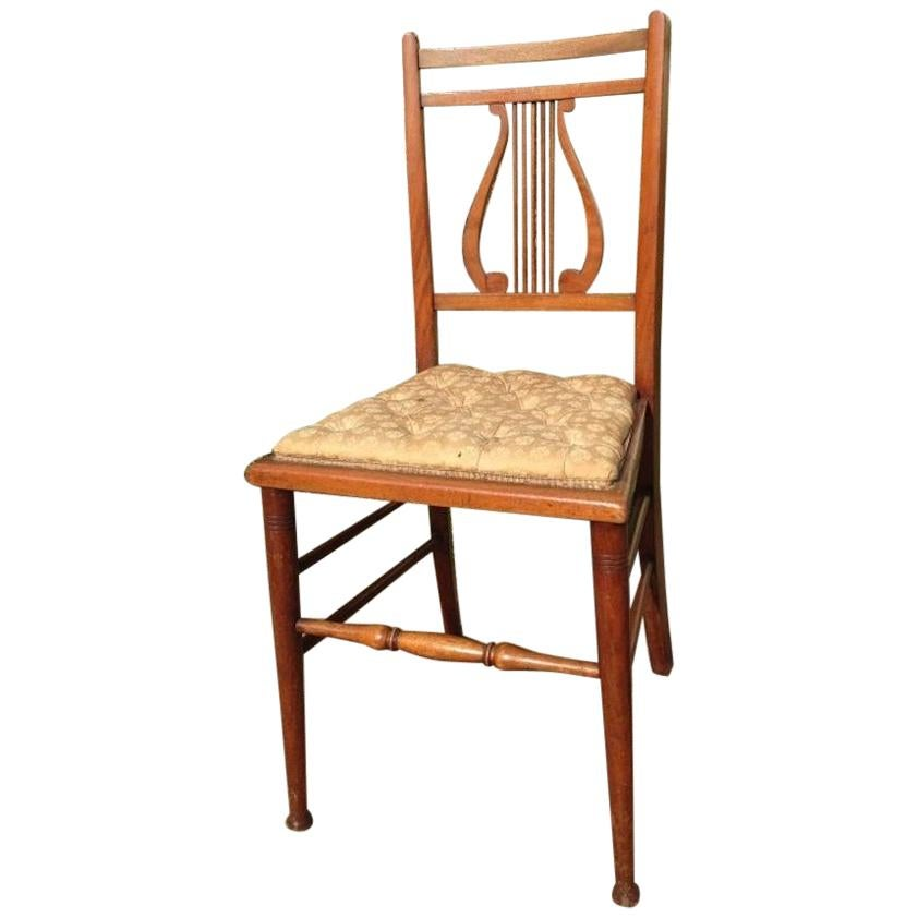 Aesthetic Movement Walnut Lyre Back Bedroom or Side Chair with Button Seat