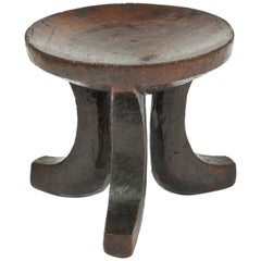 African Carved Wood Tripod Stool