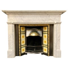 Aged Victorian Style Carved Carrara Marble Fireplace Surround